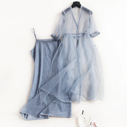 Sexy Zwei stück Sets 2018 Sommer Neue Japan Vintage Fee Kleid Sets Elegante Organza Kleid Original Design Vestidos 2 stück sets