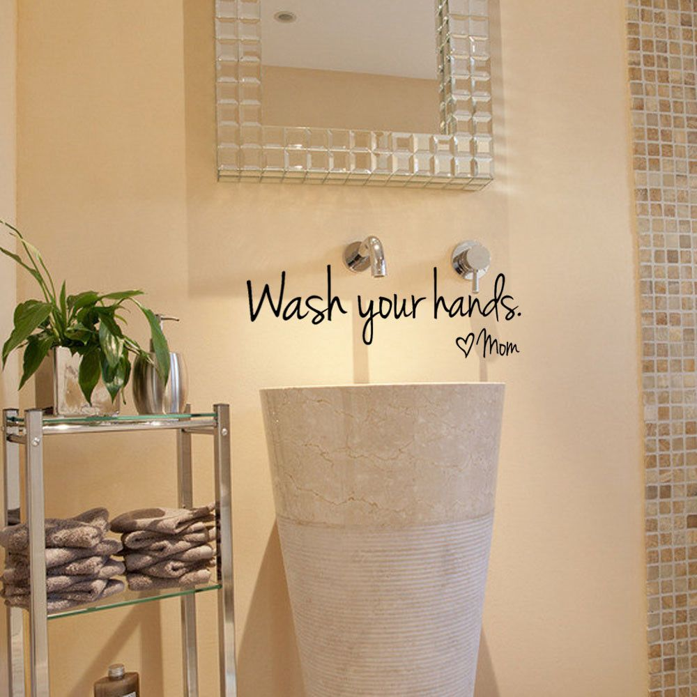 1Pc Bathroom Wall Stickers Wash Your Hands Love Mom Waterproof Art ...