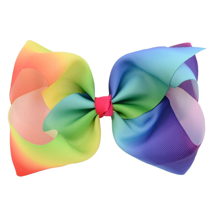 Rainbow Stripes Graffiti Bowknot Hair Clips Girls Large Big Grosgrain Ribbon Boutique Duckbill Hairpins Barrette 6Pcs/Set 8 Inch