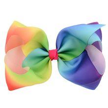 Rainbow Stripes Graffiti Bowknot Hair Clips Girls Large Big Grosgrain Ribbon Boutique Duckbill Hairpins Barrette 6Pcs/Set 8 Inch