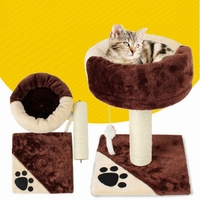 Cat Climbing Frame Color Matching with Nest Sisal Cylindrical Cat Stand Cat Scratch Board Plush Molar Grinding Claw