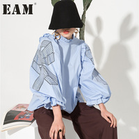 EAM 2018 New Spring Round Neck Long Sleeve Split Joint Bow Printed Solid Color Blue