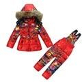 Мода Зима девушки комплектов одежды девочка Лыжный костюм набор спортивные детские Комбинезоны-30 градусов мех куртки/пальто + брюки