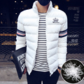 Casaco quente curto homens moda sólidos algodão fino casaco gola homens Parka inverno Ocasional Grosso topcoat Outwear 5XL tamanho