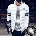 Corto de los hombres chaqueta de abrigo capa del collar del soporte sólido de la manera delgada de algodón de invierno hombres Parka Gruesa Ocasional Outwear abrigo tamaño 5XL