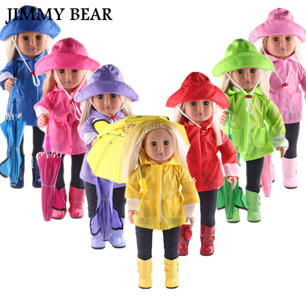 JIMMY BEAR 6 Pcs/Set Waterproof Doll Clothes Raincoat Pants Boots Hat Umbrella Set for 18'' American Girl 43-45cm Zapf Baby [mmmaww] christmas costume clothes for 18 45cm american girl doll santa sets with hat for alexander doll baby girl gift toy