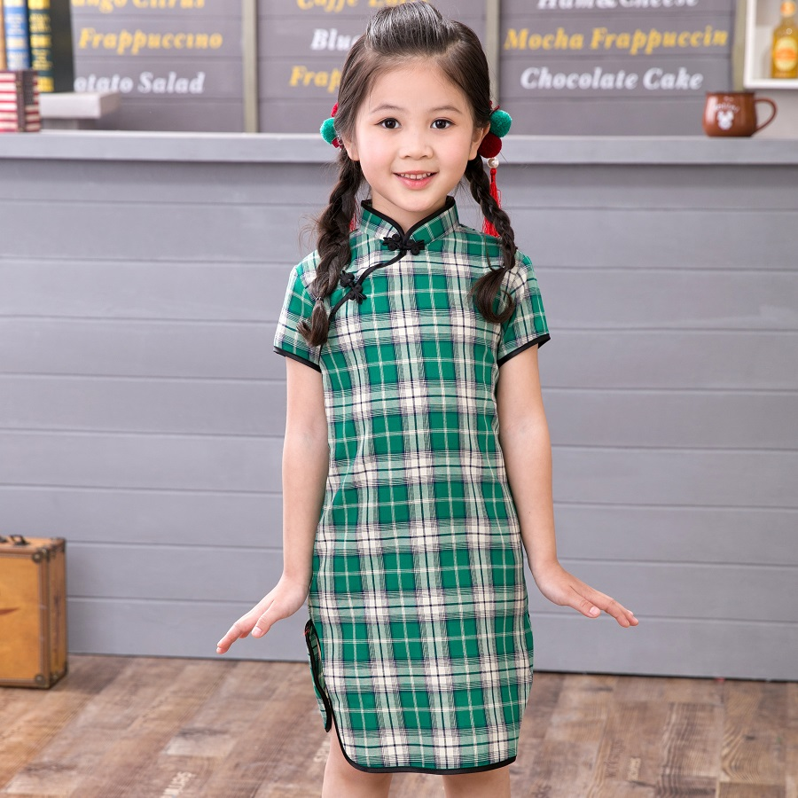 2019 Chinese Girl Dress Children Cheongsam Gift Clothes Clothing Plaid New Year