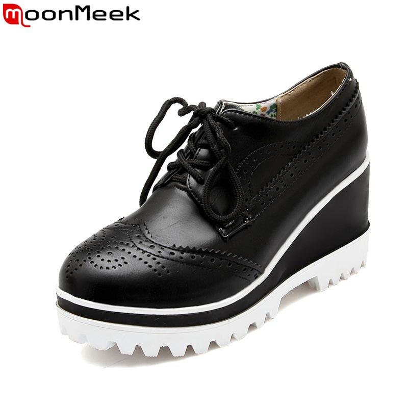 ФОТО new arrive fashion round toe women pumps simple lace up platform shoes popular sweet wedges high heels shoes woman
