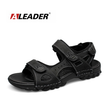 Aleader New Mens Leather Outdoor Sandals 2016 Summer Outdoor Men Shoes Sport Sandals Men Breathable Beach Slippers sandalias
