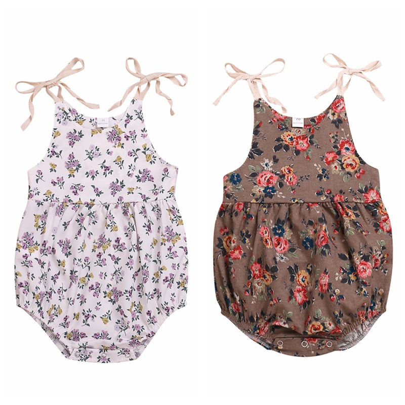 New Summer Sweet Cute Baby Girl Floral Pants Sling Sleeveless Cotton Skinny Jumpsuit