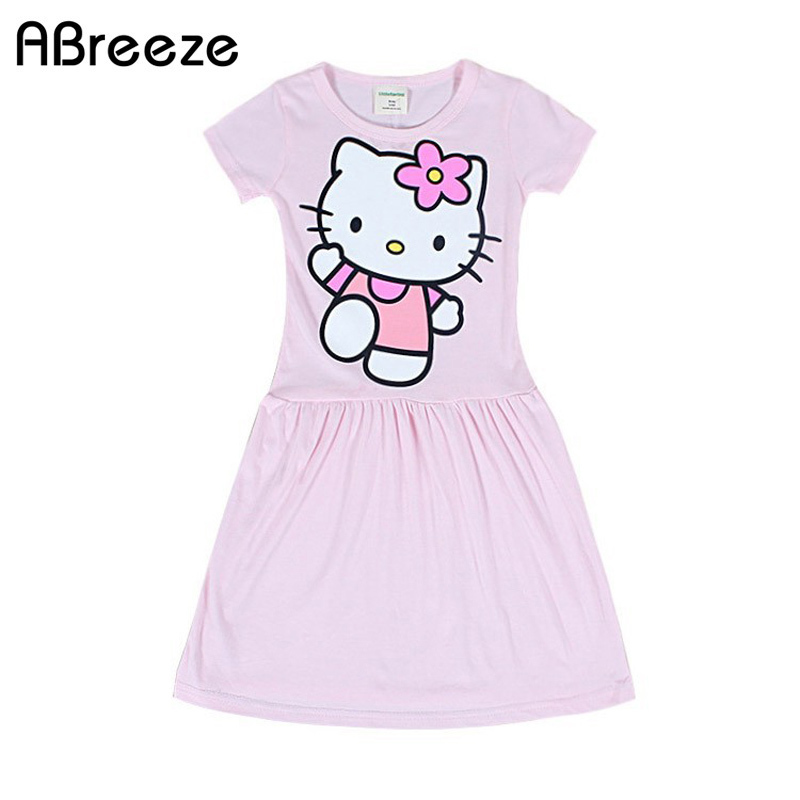 2017 New 3-9 age summer girls dresses Classic cartoon long dress for girls Fashion Kitty kids dress girls free shipping