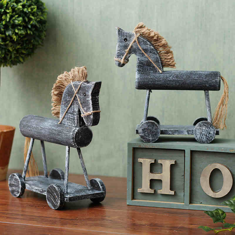 Nordic Handmade Animal Decoration Antique Wooden Horse Home Living Room TV Cabinet Ornaments GiftChina