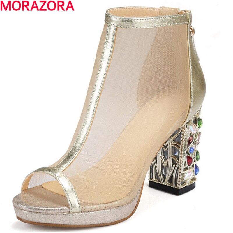 MORAZORA جديد وصول الكاحل الأحذية سستة زقزقة اصبع القدم الصيف حجر الراين الأحذية امرأة أزياء شعبية كبيرة حجم 34 40 منصة أحذية-في أحذية الكاحل من أحذية على  مجموعة 1