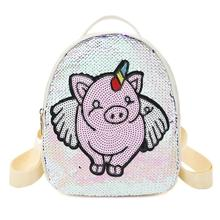 Fashion Sequins Pig Decor Bag Travel Backpacks Women School Bags Casual PU Leather Knapsack Preppy Style Small Rucksack Mochila купить дешево онлайн