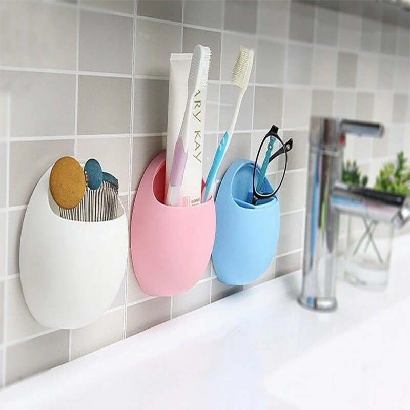 Home Bathroom household Toothbrush Holder Wall Mount Suction Cup Toothpaste Storage Rack Stick On Wall image