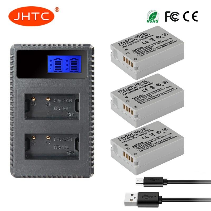 JHTC 3pcs NB 10L NB10L NB 10L Battery + LCD USB Charger for Canon CB 2LC PowerShot G15 G16 G1X G3X SX40 HS SX50 HS SX60 HS