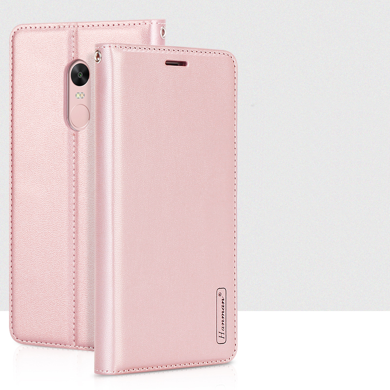 Genuine Hanman For Xiaomi Redmi Note 4X Luxury Leather Wallet Case Silicon Back Cover Magnetic Close Card Slot for Redmi Note 4