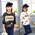 Butterfly Printed Kids Girl Hoodies & Sweatshirts Hip-Hop Style Fashion Girl Clothing Cool Sweatshirts for Girl Child Clothing