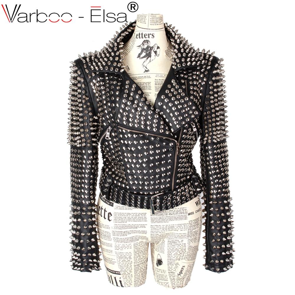 VARBOO_ELSA Heavy rivet PU leather jacket female punk style high end Slim black PU leather jacket womens motorcycle jacket red