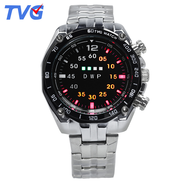 2016 Hot Sale Brand TVG Men's Watch Alloy Strap Alloy Case Wristwatches Waterproof  LED Light Unique Display Wristwatch
