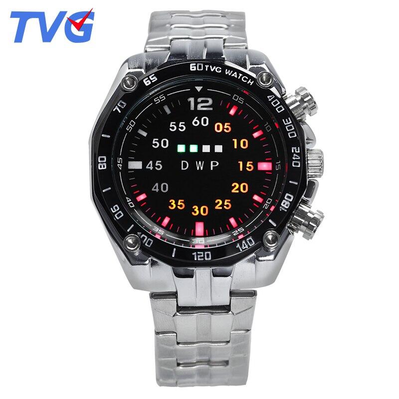 2017 heißer verkauf marke tvg herrenuhr legierung fall armbanduhren wasserdichte led-licht einzigartige display armbanduhr