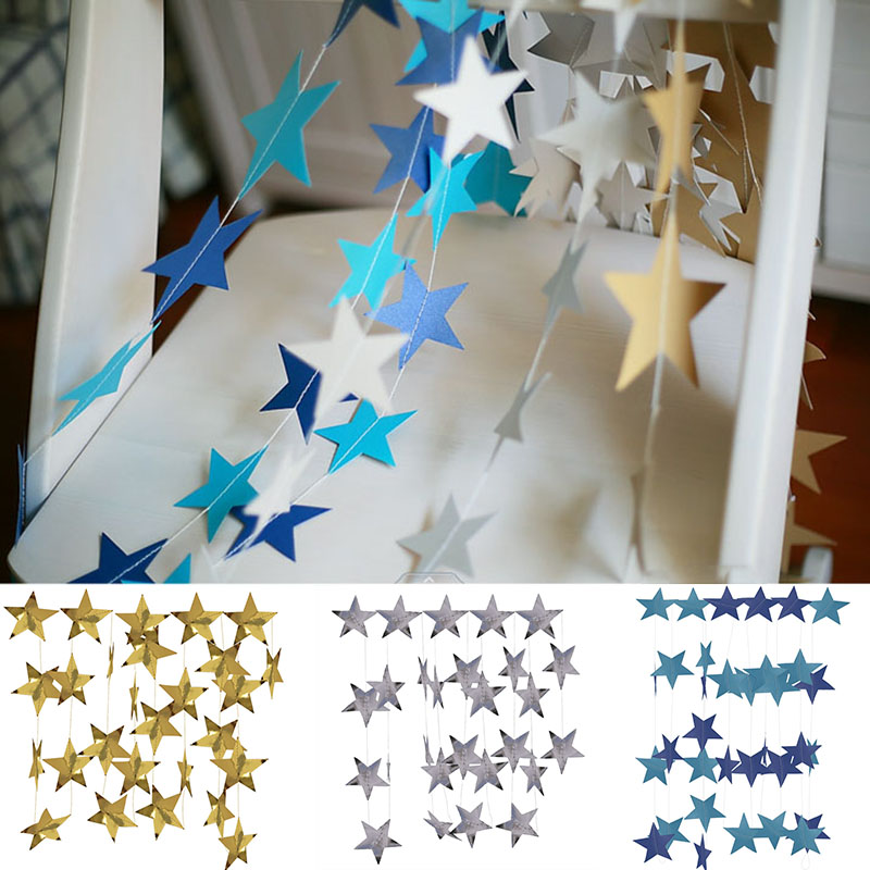 4M Bright Gold Silver Paper Garland Star String Banners Wedding Banner For Party Home Wall Hanging Decoration baby shower favors