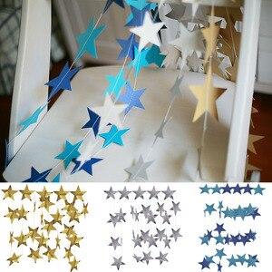 Image 4 - 4M lumineux or argent papier guirlande étoile chaîne bannières bannière de mariage pour fête maison tenture murale décoration bébé douche faveurs