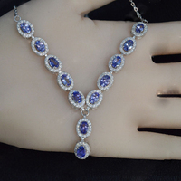 2017 Sale Collares Qi Xuan_Fashion Jewelry_Blue Stone Necklaces_S925 Solid Silver Woman Blue Necklaces_Factory Directly Sales