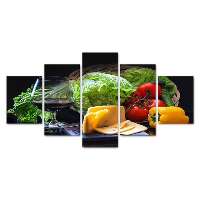 5 Pieces Canvas Art Fresh Vegetables Cheese Fruit Wine