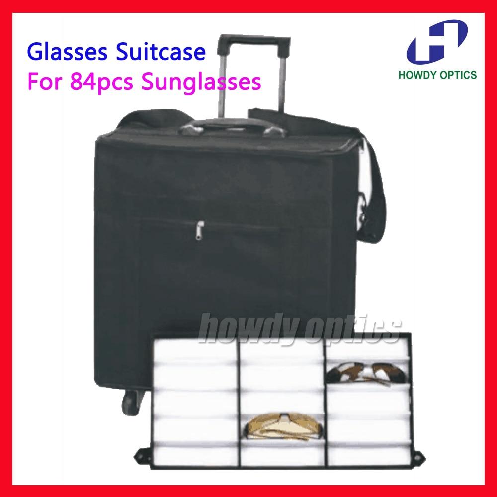 Hold 84pcs Eyeglasses Optical frame Reading Glasses Display case Sample box travel Trolley Case