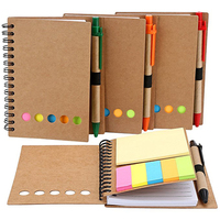 4 PCS Spiral Notebook Kraft Paper Notepad With Pen In Holder And Sticky Notes Page Marker