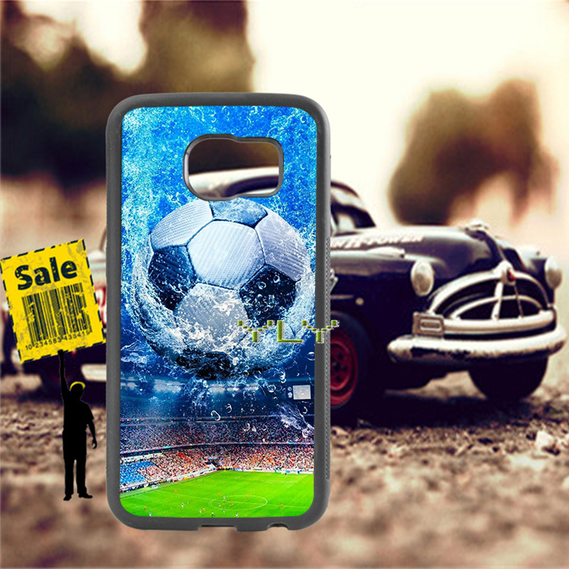 Soccer ball football soft TPU edge cell phone cases for samsung s6 edge plus s7 edge s8 s9 s10 plus lite e note8 note9 case in Half wrapped Cases from Cellphones Telecommunications