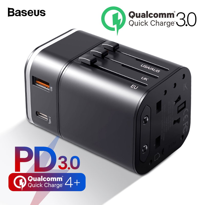 Baseus Quick Charge 4.0 3.0 USB Travel Charger Power Adapter QC QC4.0 QC3.0 USB Type C PD Fast Charging UK/EU/AU/US Plug SocketBaseus Quick Charge 4.0 3.0 USB Travel Charger Power Adapter QC QC4.0 QC3.0 USB Type C PD Fast Charging UK/EU/AU/US Plug Socket