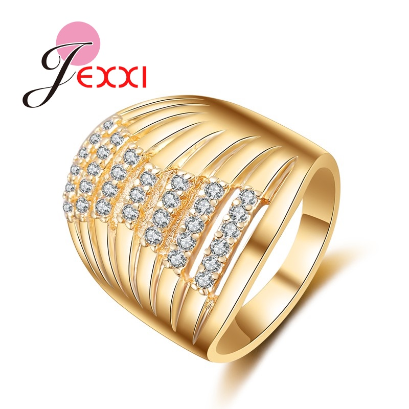 JEXXI Special Design Wide Rings For Women Girls With Shiny CZ Crystal Wholesale Yellow Gold Color Fashion Jewelry Hot