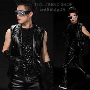 Masculino PU de couro preto punk rebite traje colete, Nightbar ds palco trajes
