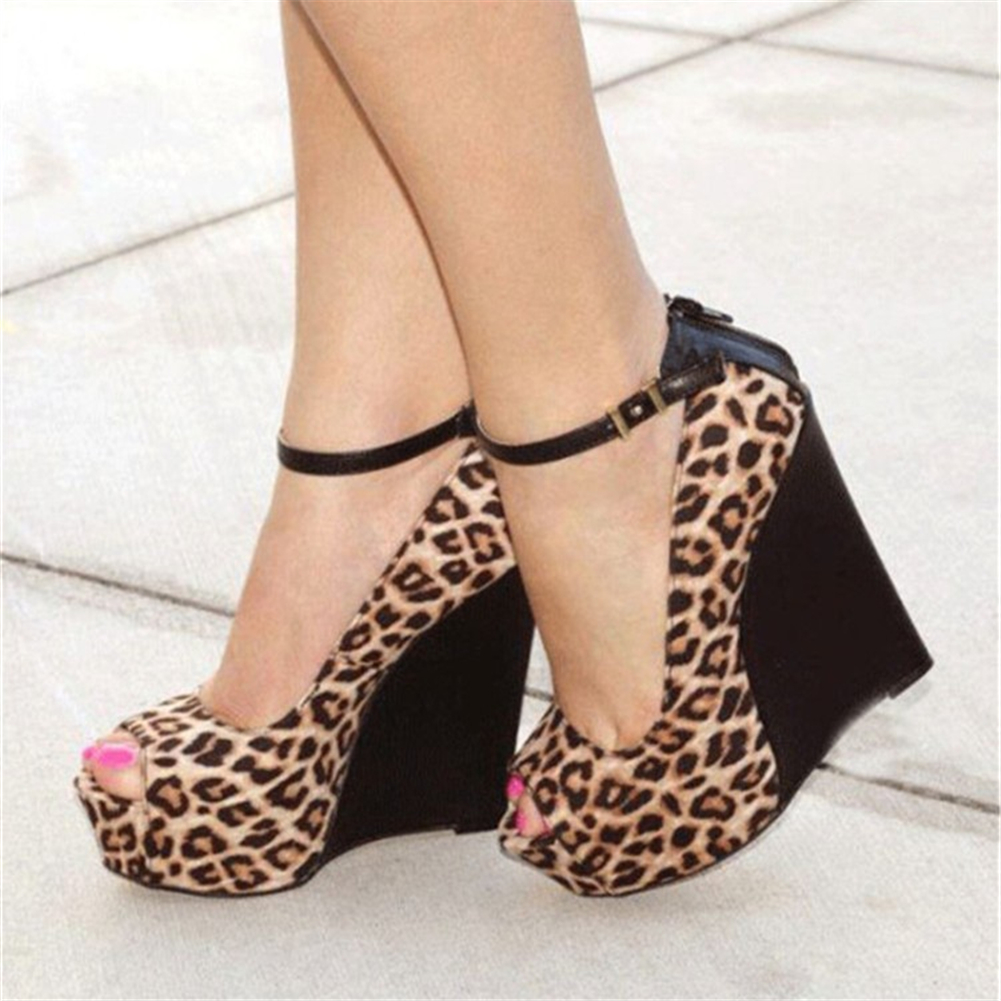 Plus Size 47 Sexy Patchwork Leopard Platform Peep Toe Women Wedges Shoes Heeled Summer Party High Heels Shoes Woman Pumps