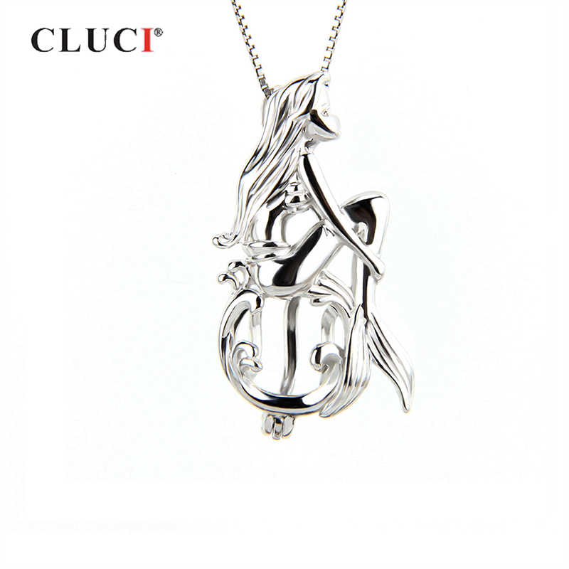 CLUCI 925 Sterling Silver Singing Mermaid Shaped Charms Pendant Women Fairy Tale Silver 925 Pearl Cage Locket Jewelry