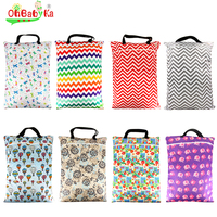 Ohbabyka Large Hanging Wet Bag Reusable Cloth Diaper Garbage Bag Washable Zippered Baby Cloth Diaper Wet