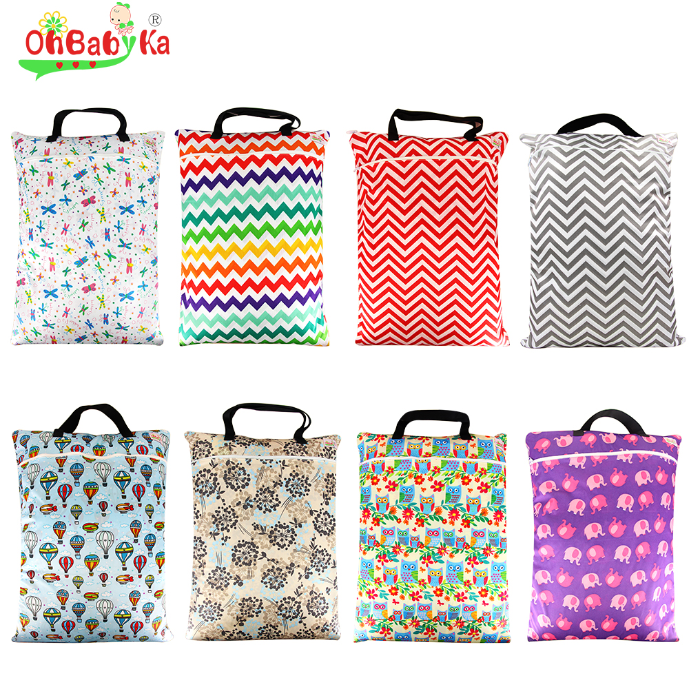 Ohbabyka Lovey Hanging Wet Bag Reusable Cloth Diaper Bags For Mum Large Garbage Zippered Washable Baby Diapers Dry
