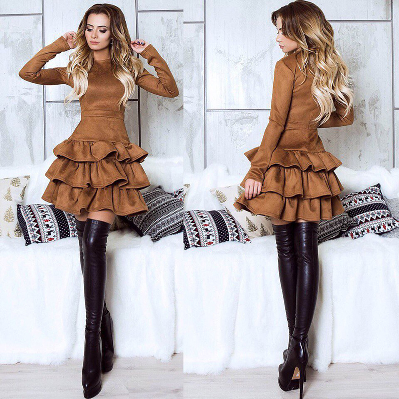 SORCHIDF Women's Ruffles Dress 2017 Autumn Winter Long Sleeve Cake Dresses Casual Mini Dress Ruffled Dress Vestidos Clothing 9