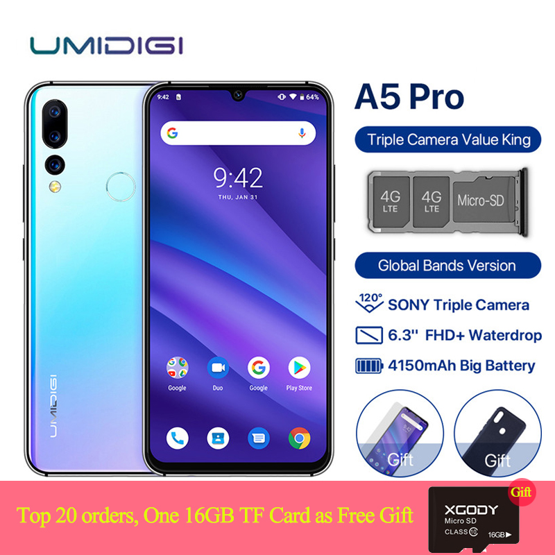 "UMIDIGI A5 PRO Dual 4G Sim Smartphone Android 9.0 6.3"" 19:9 Waterdrop Screen 4GB 32GB Octa Core 16MP 4150mAh Mobile Phone Global"