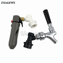 Homebrew Polished Chrome Draft Beer Tap Faucet with Co2 Keg Charger kit Cornelius Quick Disconnect Assembly