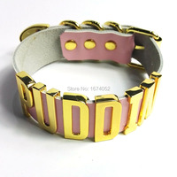 Puddin Choker Cosplay Costume Harley Quinn Movie Suicide Squad Leather Collar Golden Letter 35mm Tall Necklace