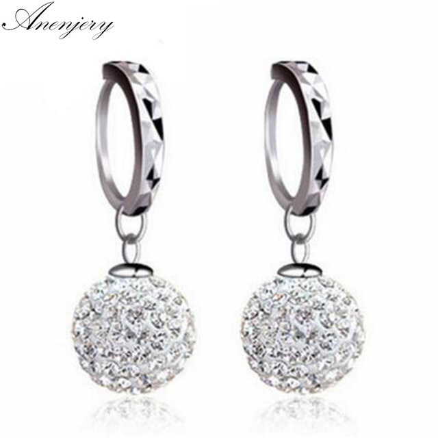 Anenjery Penntes 925 Sterling Silver Crystal Princess Drop Earrings For Women Brincos Oorbellen Boucle D Oreille S E25 In From