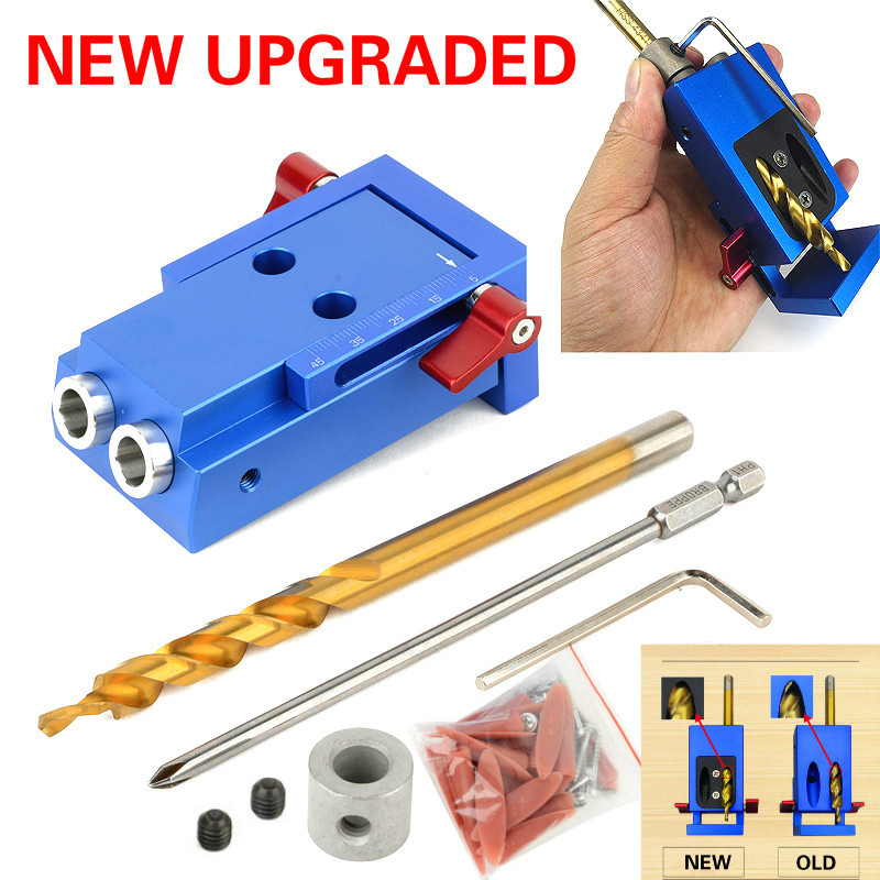 UPGRADED Mini Kreg Style Pocket Hole Jig Kit System for Wood Working & Joinery and Step Drill Bit & Accessories Wood Work ToolUPGRADED Mini Kreg Style Pocket Hole Jig Kit System for Wood Working & Joinery and Step Drill Bit & Accessories Wood Work Tool