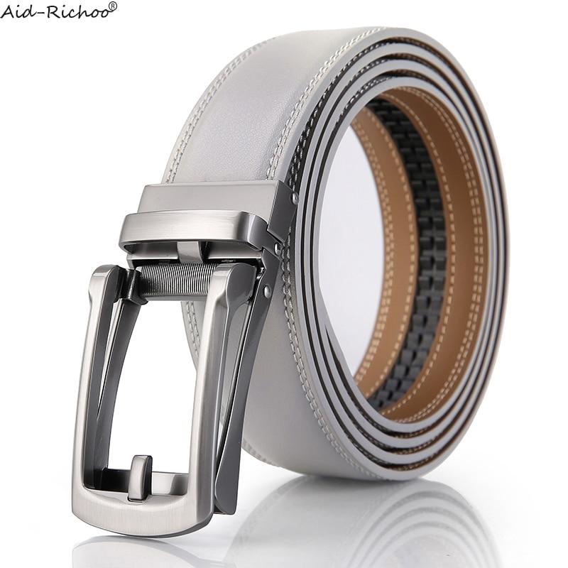 Buckle Belt Men Ratchet Automatic Leather Black Waistband Strap Western Vintage