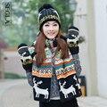 SEGLA Tampão da Neve Malha Cachecóis de Lã Chapéu Luvas Definir Mulheres inverno Quente Plush Pompons Gorros Bonnet Ouro X-x-mas Veados Cachecol luvas