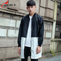 Fashion Men's Windbreaker Stand Collar Stitching Loose Coat 2016 Autumn Spring New autumn casual Overcoat Size M-2XL Black Blue