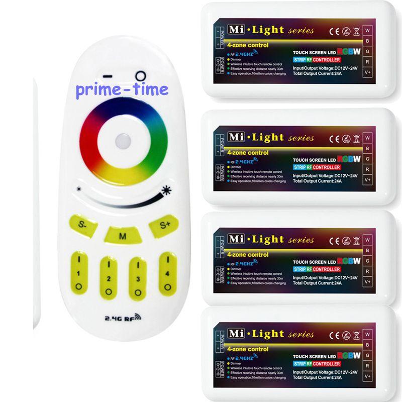 Milight 2.4G 4 zones sans fil RF tactile à distance + 4x DC 12-24 V 10A RGBW groupe LED de contrôle pour RGBW RGBWW LED bande lumineuse