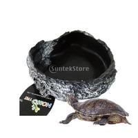 Reptile Vivarium Terrarium Voerbak hagedis Gecko Slang Kikker Water Worm Feeder Black
